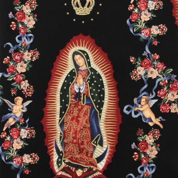 Alexander Henry VIRGIN OF GUADALUPE Black Cotton Quilt Fabric - by the Yard