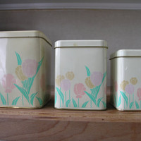 Vintage Nesting Tin Boxes. Set of 3 Metal Canisters. Tulips Spring Easter Home Decor.