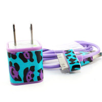Double Trouble Funky Cheetah Print iPhone charger with USB Cable & Wall Adapter