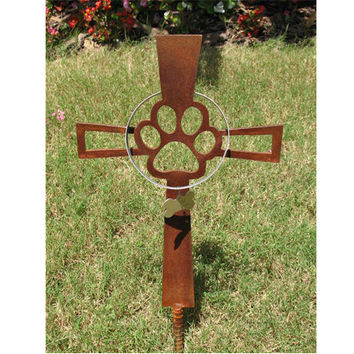 Pet Memorial Cross - Dog - Metal Yard Art - Metal Garden Art - Metal Cross - Rusty - Design 1