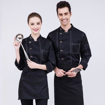 Trendy New Design Chefs White Coat Men and Women Fall/Winter Long Sleeve Blue Green Denim Uniform Hotel Cook Work Clothing Sales B-6523 AT_94_13