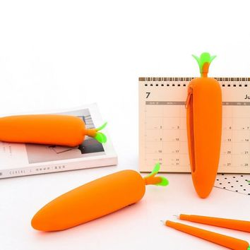 Carrot Soft Silicone Cute Pencil Case
