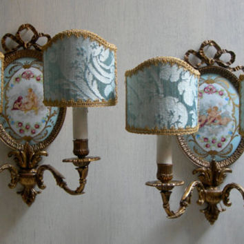 Pair of Antique French Louis XVI Gilt Bronze Porcelain Medallion Wall Sconces with Rubelli Fabric Clip On Lamp Shades - Made in Italy