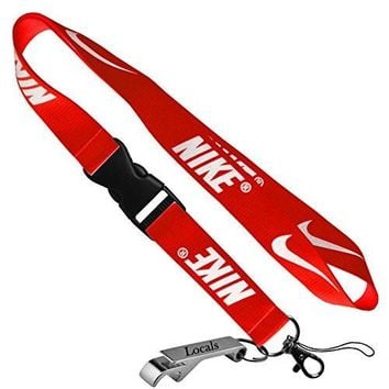 Nike Cell Phone Keychain Lanyard Keys ID MP3 Holder Neck Straps with LOCALS Bottle Opener (RED)