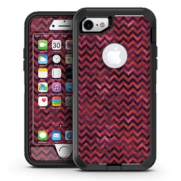 Wine Basic Watercolor Chevron Pattern - iPhone 7 or 7 Plus OtterBox Defender Case Skin Decal Kit