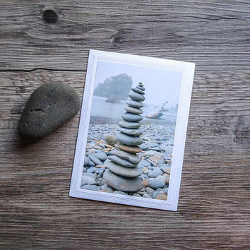 Rock Cairn Photo Greeting Card, Pile of Rocks at Ruby Beach, Foggy Landscape, Pacific Northwest, Fine Art Photography, Cloudy Coast
