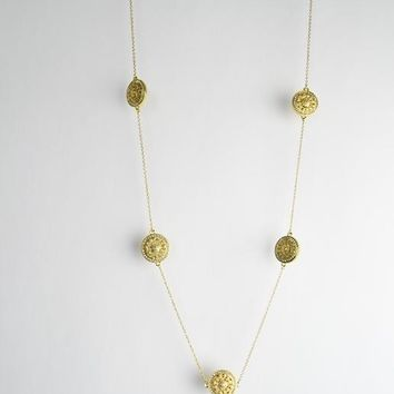 "Circles 34"" Long Necklace-Gold/CZ Rhinestones"