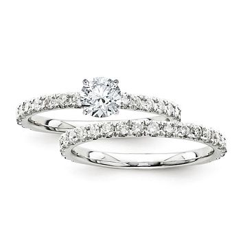 Certified 1.45 Ct. Round Diamond Bridal Engagement Ring Set with Side Stones in 14K White Gold