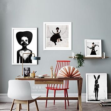 wall poster black girl Posters decorative wall painting Canvas Art Print Wall Pictures Home Decoration Frame not include FC1058