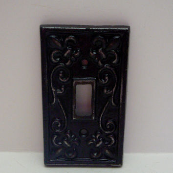 Fleur De Lis Cast Iron Light Switch Plate Cover Single Wall Shabby Chic Distressed Rustic French