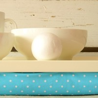 Supermarket:  Laptop Lap Desk or Breakfast serving Tray - L size- Aqua polka Dots from EJ butik