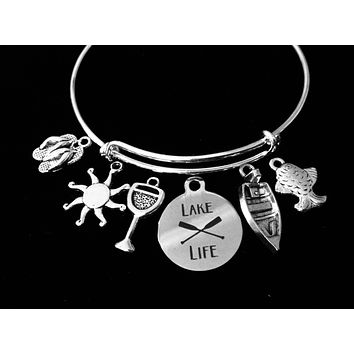 Lake Life Jewelry Adjustable Bracelet Expandable Silver Charm Bangle Sunshine Flip Flops Fishing One Size Fits All Gift Summer Fun