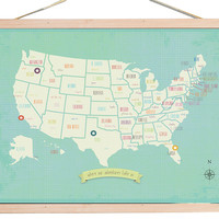 Blue USA Map Tapestry, Tapestries & Panels