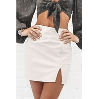 Tell Me About It Stud Ivory Leather Skirt