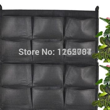 12 pockets NEW Felt 1PC Outdoor Vertical Gardening Flower Pots and Planter Hanging Pots Planter On wall Green Field 66*80cm