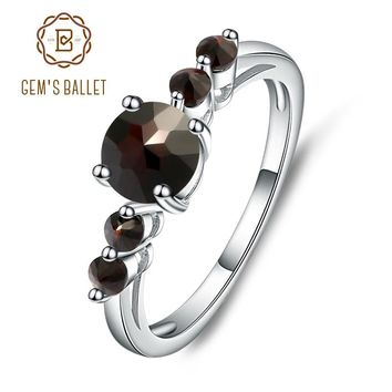 GEM'S BALLET Natural  Black Garnet  Gemstone Genuine 925 Sterling Silver Rings For Women Gift Charms Fashion Jewelry Vintage
