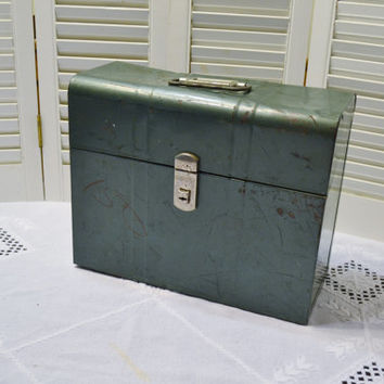 Vintage Green Metal File Box Rustic Urban Office Decor Storage  PanchosPorch