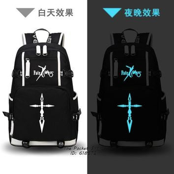 Anime Backpack School High Quality 2018 New Fate/Zero Command Spell Gold Printing Backpack kawaii cute School Bags Saber Canvas Cosplay Bags Laptop Backpack AT_60_4