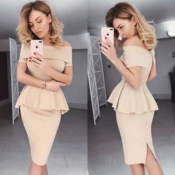 Beige Ruffle Off Shoulder Peplum Two Piece Fashion Church Midi Dress
