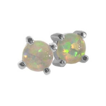 Sterling Silver 4mm Round Created White Opal Stone Stud Earrings