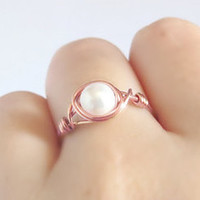 14k Rose Gold White Shell Pearl Ring - unique rings - wire wrapped ring - bohemian jewelry - rose gold ring