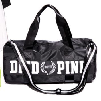 Victoria pink sports fitness yoga package hold-all duffel bag Black(white letters)