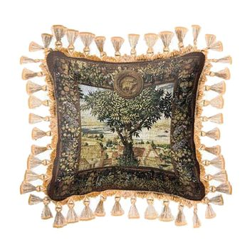 Fine Art Tapestries Home Decorative Hunting Parties of Archduke Maximilian Cotton Pillow