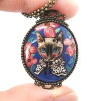 Fancy Kitty Cat Shaped Illustrated Oval Pendant Necklace in Blue with Roses