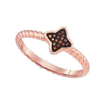 10k Pink Rose Gold Red Colored Diamond Cluster Womens Unique Small Ring 1/20 Cttw