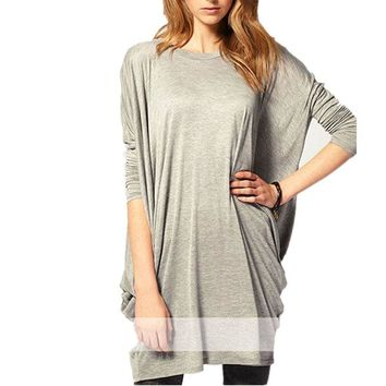 Full Long Sleeve O Neck Fashion Batwing Sleeve Top