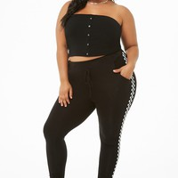 Plus Size Button-Front Tube Top