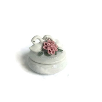 Flower Ring Box with Swans - Wedding Ring Box, Rose Ring Box, Ring Box Holder, Ring Dish, Porcelain Ring Dish, Ring Bearer Box