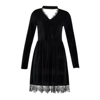 'Deathly Doll' Black velvet dress