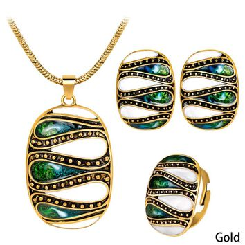 Geometric Jewelry Sets alloy painting oil pendant Necklaces Set party costume jewelry fashion bridal wedding jewelry set gift