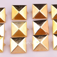 Free shipping 200pcs gold DIY Spike Square Stud Rivet Punk Belt Leathercraft 8mm A2542