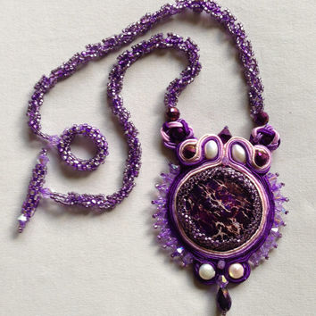 Soutache Necklace, Purple, Pendant