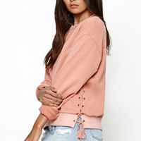 Honey Punch Lace-Up Side Crew Neck Sweatshirt at PacSun.com