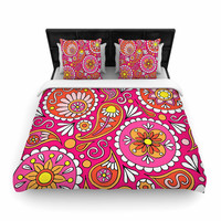 "Sarah Oelerich ""Paisley Pop"" Orange Pink Woven Duvet Cover"