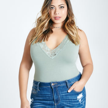 Plus Size Lace Trim Bodysuit | Wet Seal Plus