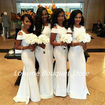 2016 Romantic African Bridesmaid Dresses Long Mermaid Jewel Neck Wedding Guests Gowns Nigeria Maid of Honor Dresses for Wedding
