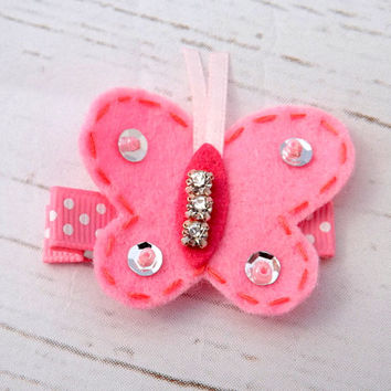 Pink butterfly hair clip, felt hair accessory, summer hair, Girls sequin hair clip, sequin butterfly,toddler clip,  uk seller