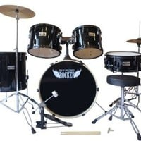 Stage Rocker 5pc drum set with double-braced hardware (Cymbals, Stool and Sticks included) - Black