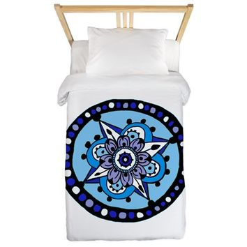 FLORAL STAR HENNA DESIGN TWIN DUVET