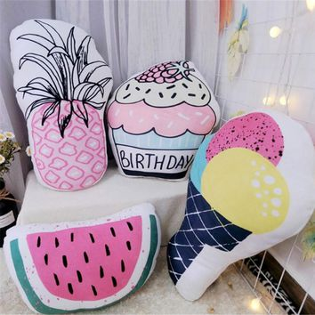 Ins Creative Simulation Summer Cool Watermelon Fruit Pillow Ice Cream Drinks Cushions Decoration Throw Pillow