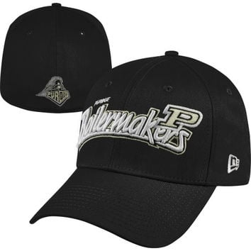 New Era Purdue Boilermakers Black 39THIRTY Tail Swoop Classic Stretch Fit Hat