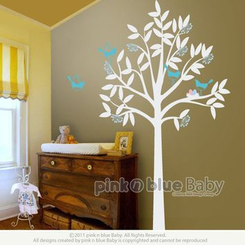 Tree with Birds and Nest Nursery Kids Wall Vinyl by pinknbluebaby