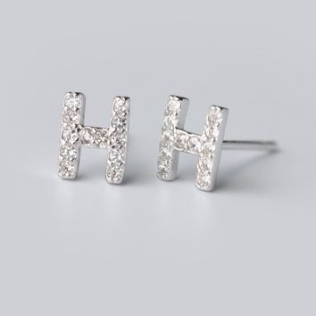 "Fashion zircon letter ""H"" shape 925 Sterling Silver earrings ,a perfect gift"