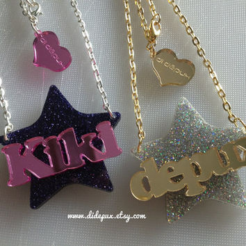 STAR name necklace laser cut by didepux on Etsy