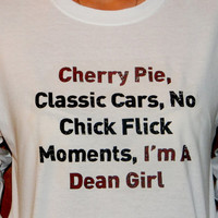 Supernatural Dean Winchester Long Sleeved T-Shirt. I'm A Dean Girl. Customize To Size And Color.