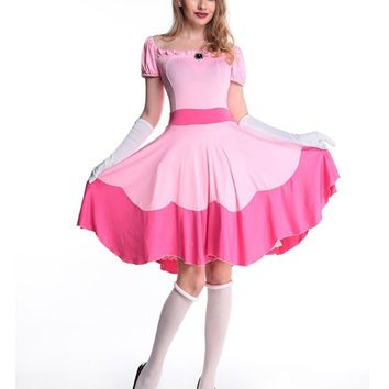 MOONIGHT New Fanshion Halloween Costumes for Women Pink Adult Costume Cosplay Princess Dress Fairy Tale One-Piece Dress